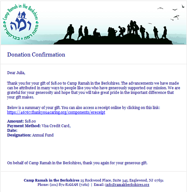 camp ramah donation confirmation